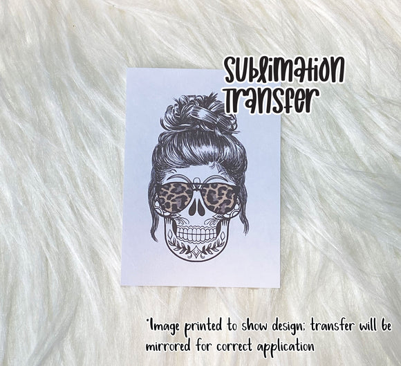 Messy Bun Skull & Leopard Shades Sublimation Transfer