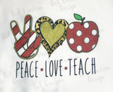 Peace Love Teach Sublimation Transfer