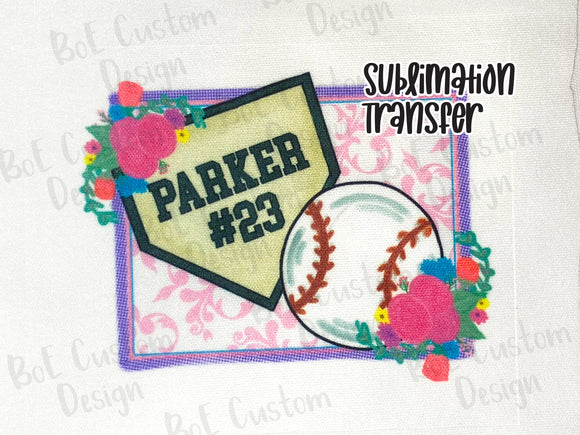 Personalized Baseball Sublimation Transfer