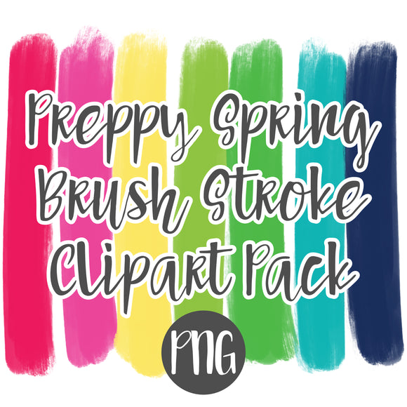 Spring Preppy Brush Stroke Clipart Pack