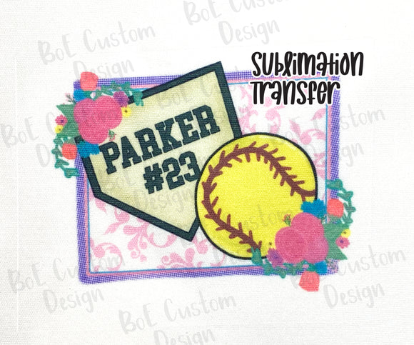 Personalized Softball Sublimation Transfer