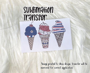 Red, White, & Blue Ice Cream Cones Sublimation Transfer