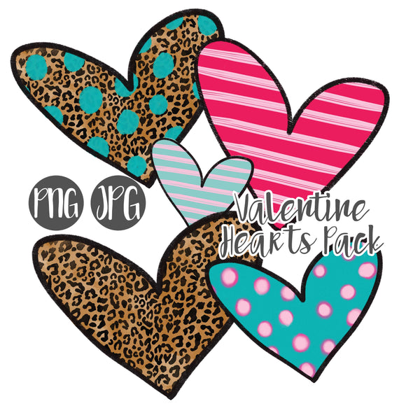 Hand Drawn Valentine Hearts Clipart Pack