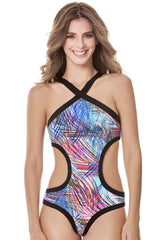 Style 137 Black - THE PALM CROSS FRONT MONOKINI BLACK
