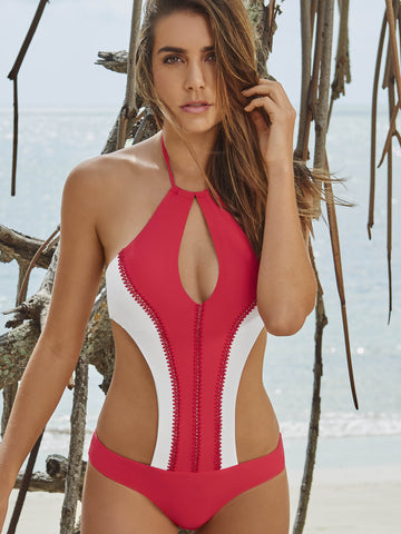 Style 139 Coral - CHURUM MERU DOUBLE CROCHET STRIPES MONOKINI CORAL