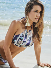 Style 136 - THE PALM HALTER STRIPE CROCHET