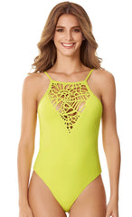 Style 142 Green - KEY WEST HALTER ONE PIECE LASER CUT GREEN
