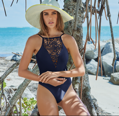 Style 142 Navy - KEY WEST HALTER ONE PIECE LASER CUT NAVY