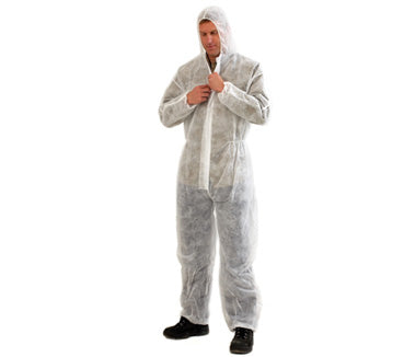 DISPOSABLE COVERALLS WHITE LARGE