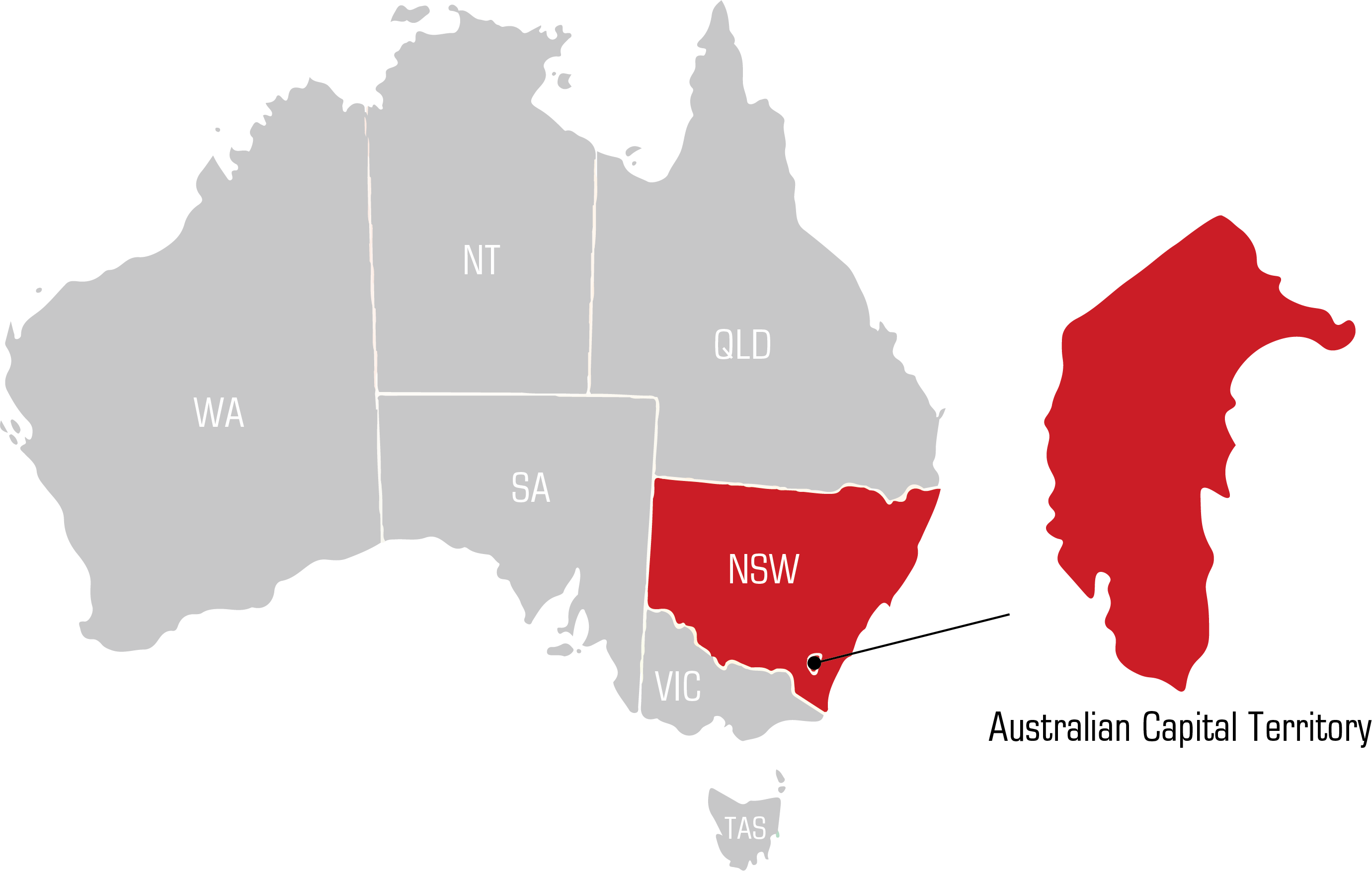 QWS ACT Australian Capital Territory Welding Supplies map