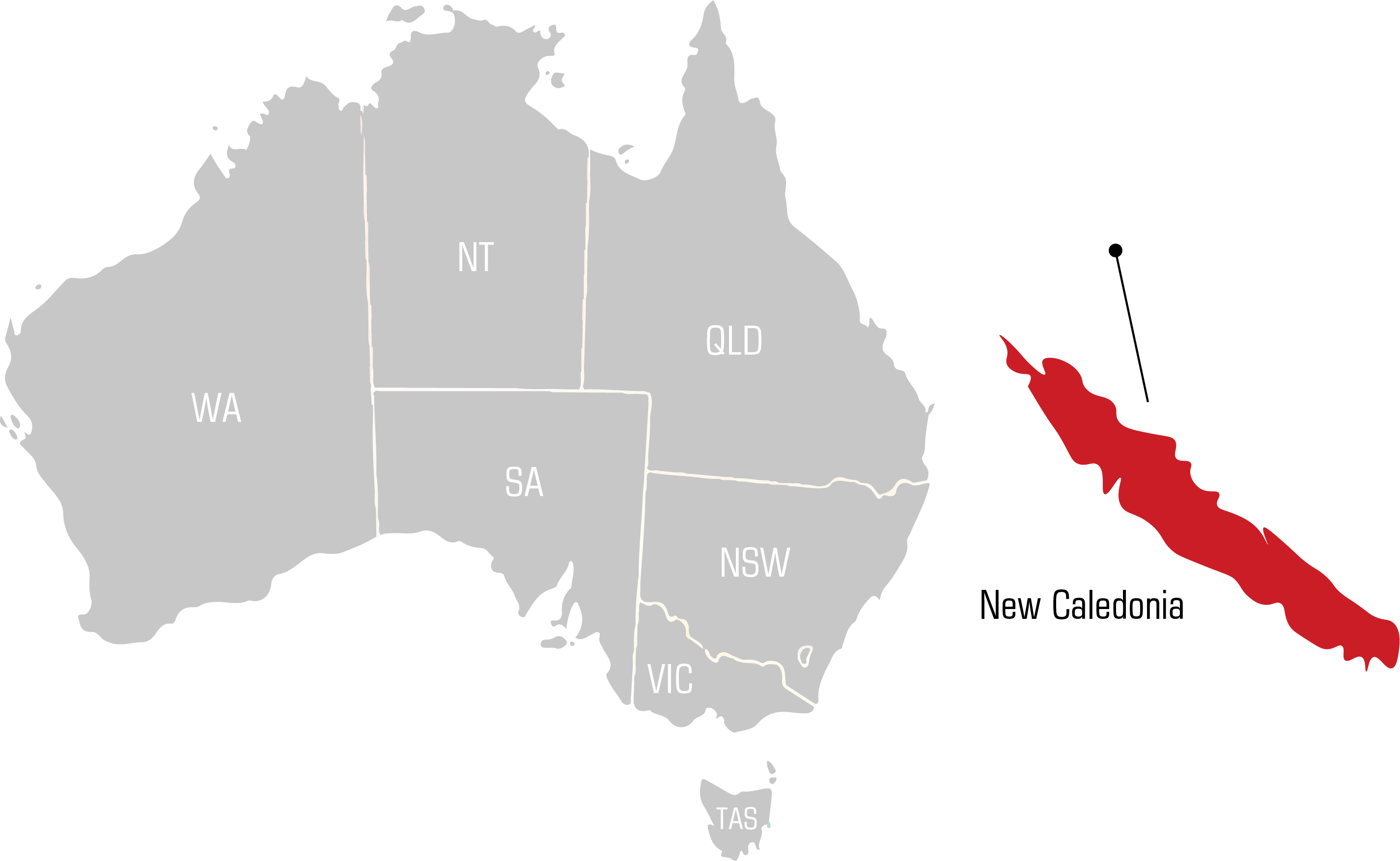 QWS new caledonia Welding Supplies map