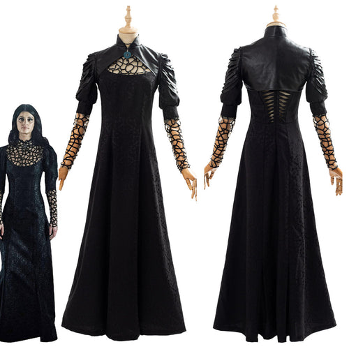 Yennefer The Witcher Yennefer Kleid Cosplay Kosüm Schwarz