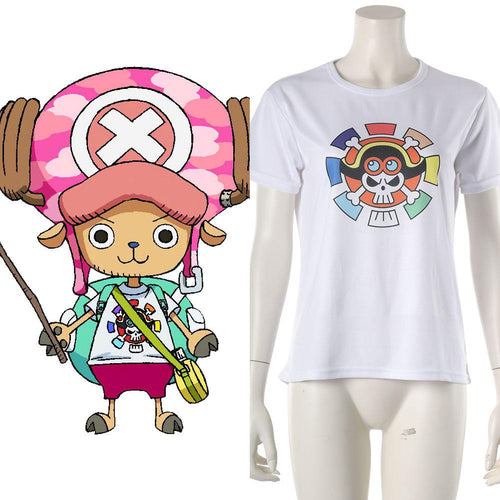 2019 One Piece: Stampede Tony Tony Chopper T-Shirt Tee Top Weiß Tee Kurzarm Cosplay