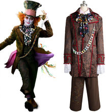 Laden Sie das Bild in den Galerie-Viewer, Alice In Wonderland Johnny Depp Mad Hatter 6 Stücke Full Set Cosplay Kostüm