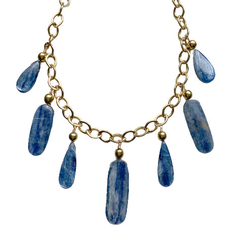 LULU KYANITE FRINGE NECKLACE