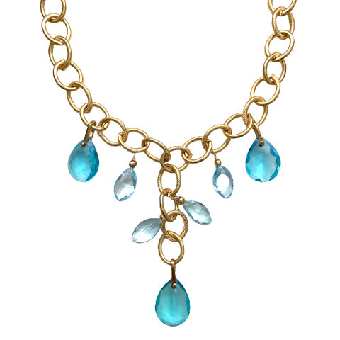 NATALIE BLUE TOPAZ STATEMENT NECKLACE
