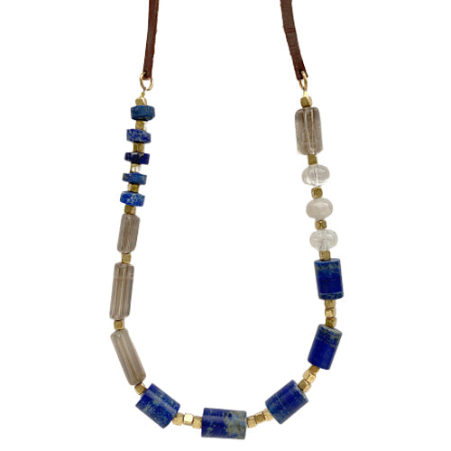 CHARLIE LAPIS AND SMOKY TOPAZ NECKLACE