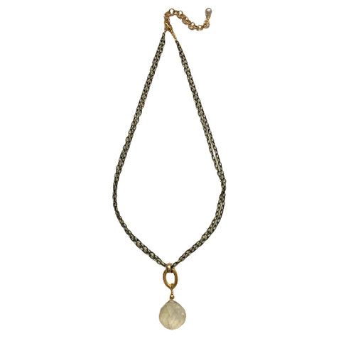 DAPHNE RUTILATED QUARTZ DROP NECKLACE