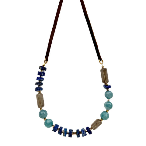 SIENNA AQUAMARINE AND LAPIS NECKLACE