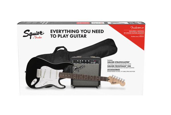 Squier Strat Electric Guitar Pack. Black