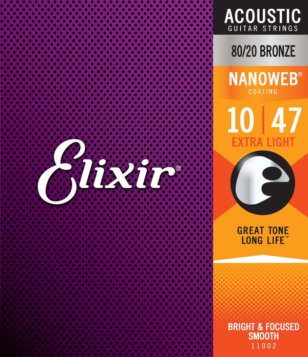 Elixir Nanoweb Extra Light 10-47 Acoustic Guitar Strings
