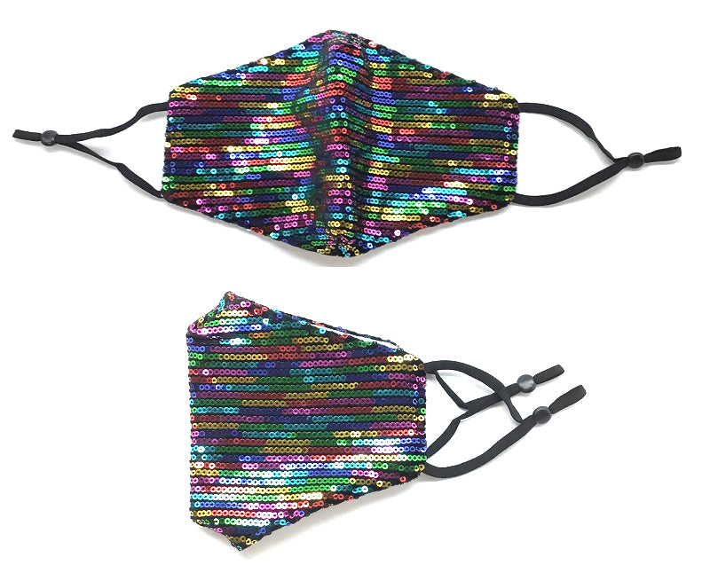 SEQUIN Face Mask - MA1027 DISCO RAINBOW-10PCS($4.50ea)