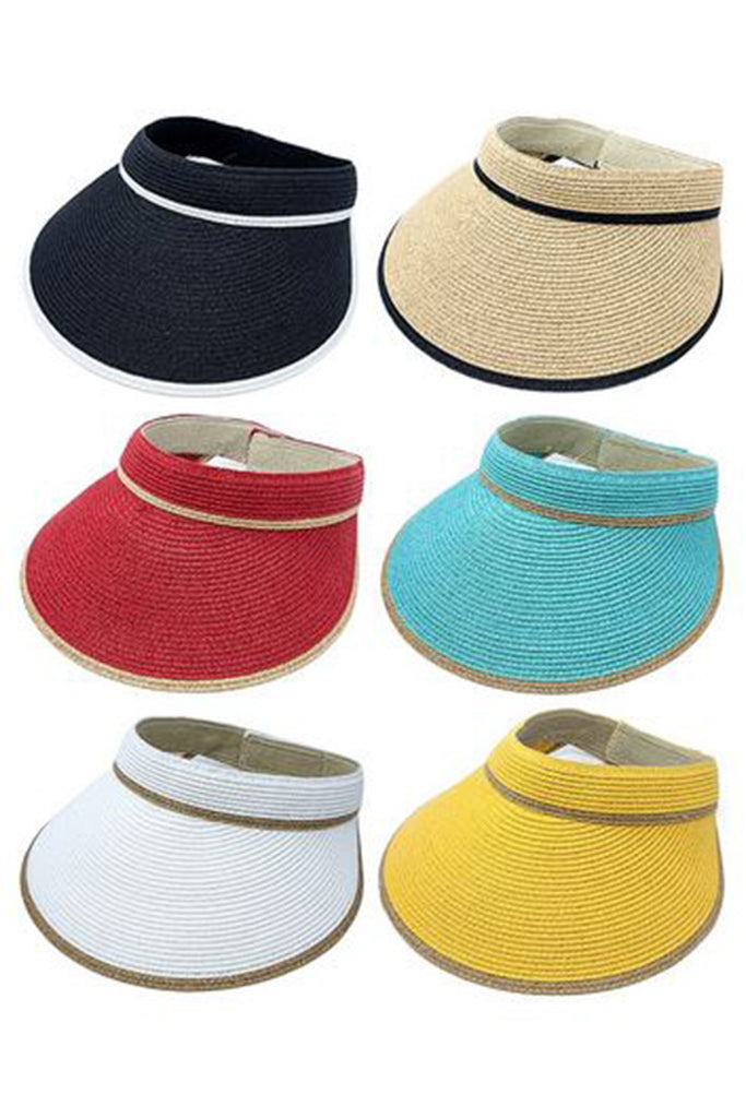 Straw Visor With Contrasting Color Edging