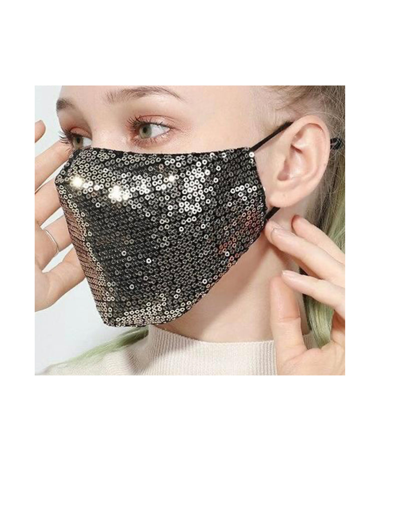 SEQUIN Face Mask - SA2168 GOLD-10PCS($4.50ea)