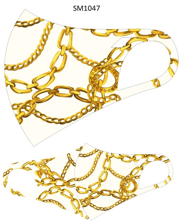 MASK-SM1047 WHITE/GOLD CHAIN-10PCS($2.50ea)