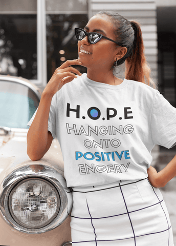 H.O.P.E Hanging Onto Postive Energy Unisex Heavy Cotton Tee - Shine Ya Light Gear