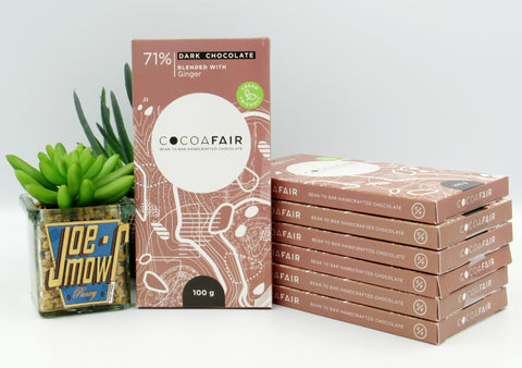 Cocoafair 71% Dark Chocolate Blended With Ginger 100g slab