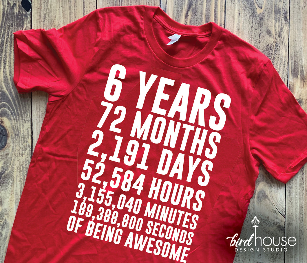 6th Birthday Shirt, Counting the Days & Hours of Being Awesome