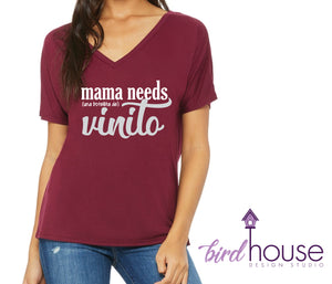 Mama Needs Vinito, Cute and funny Shirt for Wine Lovers, una botella