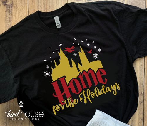 Home for the Holidays Hogwarts Shirt, Cute Harry Potter Tee Universal Studios, Diagon Alley Castle Hedwig