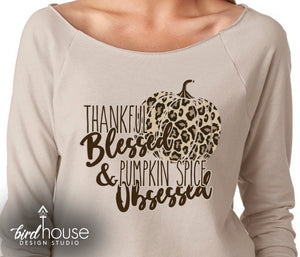 Thankful Blessed & Pumpkin Spice Obsessed Shirt, Cute Animal Print Fall Tee Thanksgiving