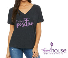 Load image into Gallery viewer, Think Positive, Cute Religious Shirt, Catholic Christian Prayer