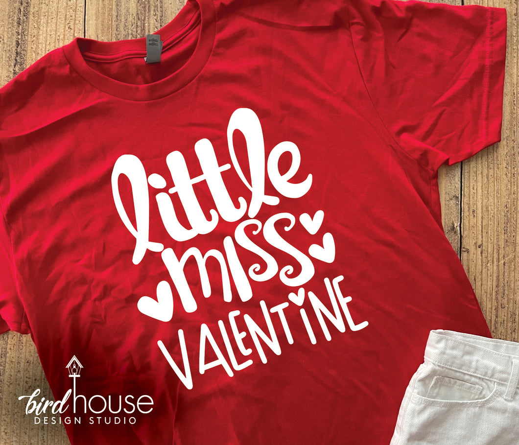 Little miss Valentine, Cute Shirts for Valentine's day, school dress down for girls