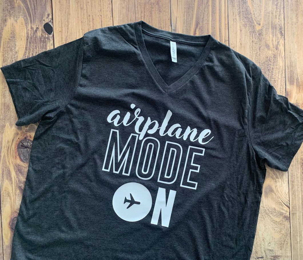 Airplane Mode On, Vacation Shirt, Cute Shirt, Personalized, Any Color, Customize, Gift