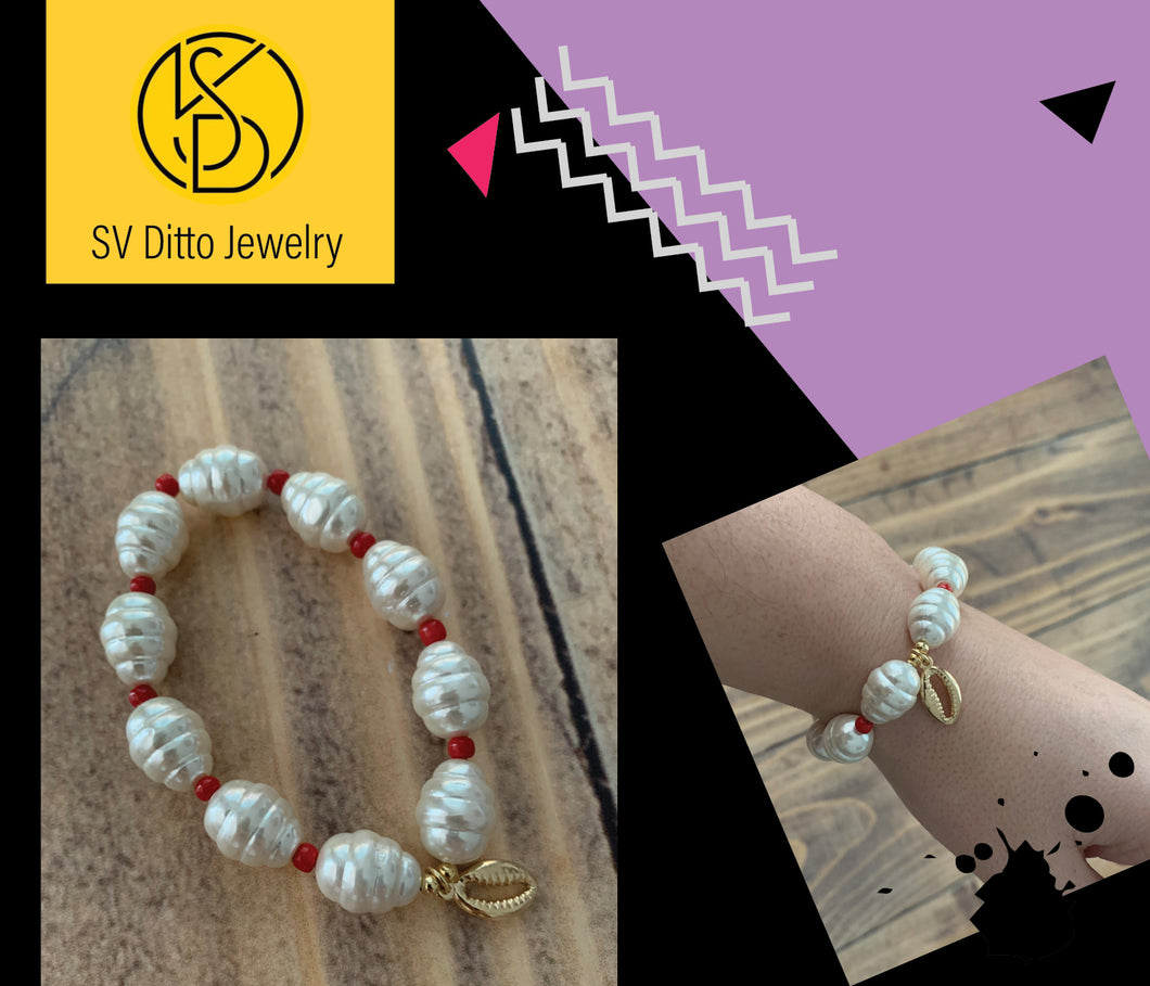 FREE BRACELET - Gold Plated Shell with Red Beads Bracelet by SD Vitto Jewelry