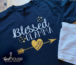 Blessed Glamma Shirt, Personalized Grandma, Grandkid Names, Cute Gift for Mother's Day