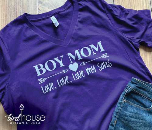 Boy Mom, Love my Sons boys, Grandma Grandmom Shirt, Personalized Any Name, Any Color