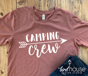 Camping Crew Shirt, Cute Vacation Camper Arrow Tee, Any Color or Style