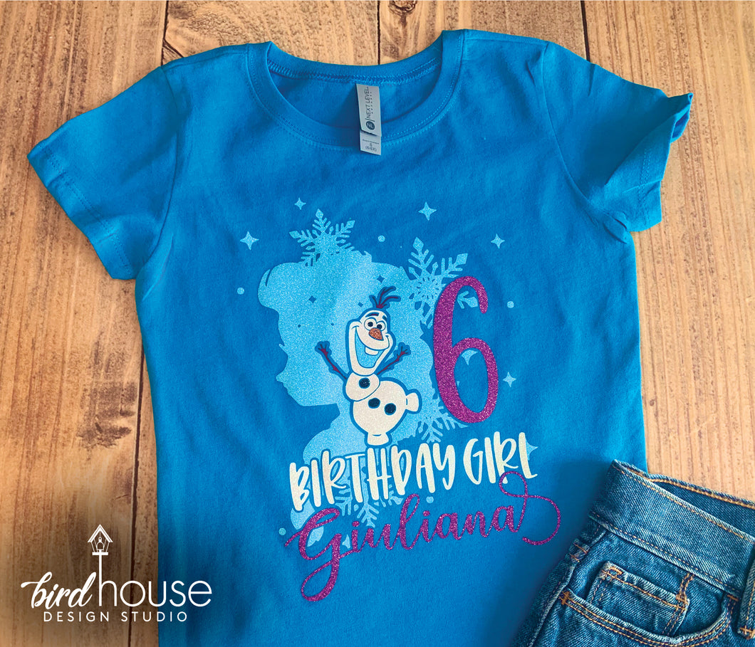 Frozen Elsa & Olaf Shirt, Personalized, Any Color, Cute Birthday Tee