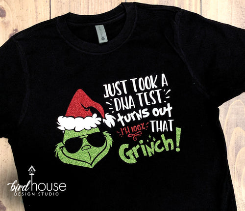 Took a DNA Test 100% That Grinch Santa Sunglasses Shirt, Cute Christmas Glitter Tee Funny Universal Grinchmas Tee