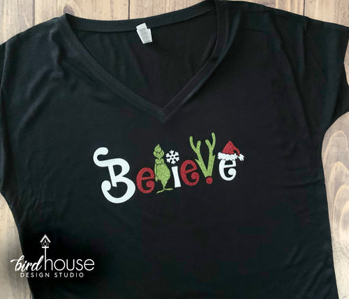 Grinch Believe Shirt, Cute Christmas Grinchmas Glitter Tee