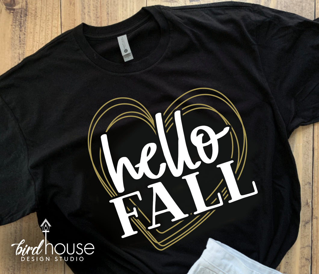 Hello Fall Heart, Cute Love Fall Thanksgiving Tee,