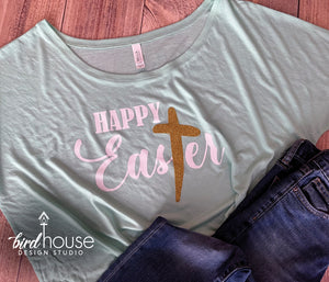 Happy Easter, Glitter Cross Religious, cute Easter Sunday Shirt, Custom Any Color