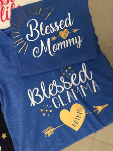 Blessed Glamma Shirt, Personalized Grandma, Grandkid Names, Any Color