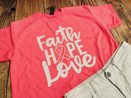 Faith Hope Love Breast Cancer Awareness Shirt, Pink Ribbon Month October