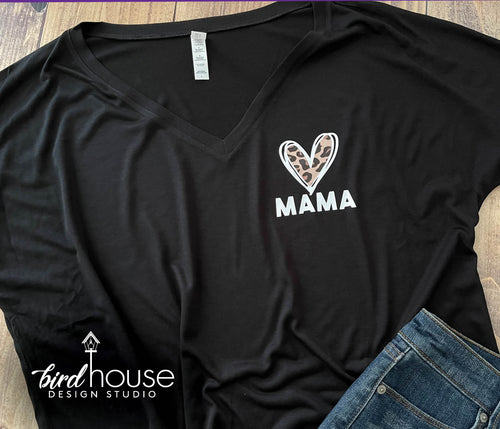 Mama Leopard Print Heart Shirt, Any Name, Mom, Grandma, Abuela, Tia, Cute Mother's Day Gift